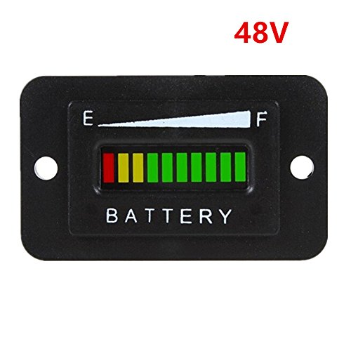 Aimila 48V LED Battery Indicator Meter Gauge Charge Discharge Testers for Lead-acid Battery Motorcycle Golf Cart Car Jet Ski (Lead Acid Car Battery Tester compare prices)