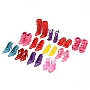 Big Bargain Lovely 12 Pair High Heel Flattie Shoes Boot For Barbie Doll Outfits