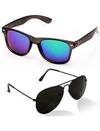 Sheomy Unisex Combo Pack Of Wayfarer And Aviator Sunglasses For Men And Women - Mirrored Sunglasses ( Mercury-Wayfarer-Black-Black-Aviator...