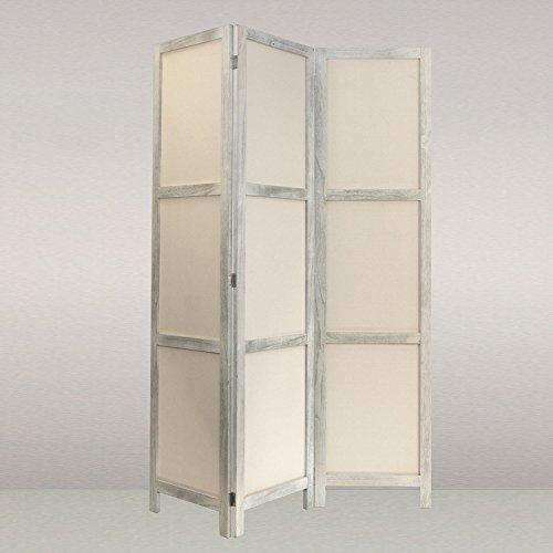 NEG-Paravent-RIGEL-shabby-chic-wei-166x126cm-RaumteilerSichtschutz-aus-echtem-Paulownia-Holz-mit-Baumwollbespannung
