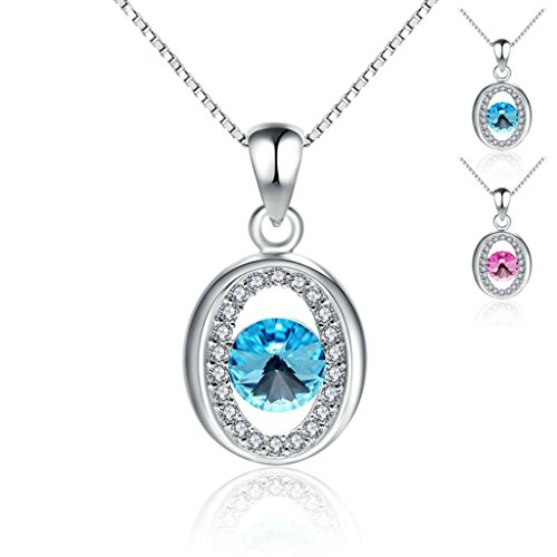 Beydodo Silver Plated Necklace(Pendant Necklaces)For Women CZ Round Blue Pink Rhinestone Box Chain (Madonna Material Girl Fancy Dress)