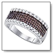 3/4 Carat Chocolate & White Diamonds Sterling Wedding Anniversary Ring