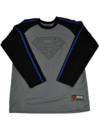 (WS754052-Gray-14/16) Superman Boys Long Sleeve Crew Neck Raglan Jersey w/ Contrast Sleeves and 3D Screen Print in Gray Size: 14/16