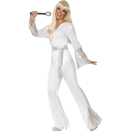 Smiffy's 70's Disco Lady Costume with Top/Trousers and Belt - S, M or L