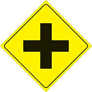 "Amazon.com: YELLOW PLASTIC REFLECTIVE SIGN 12"" - 4-WAY ... Y Intersection Sign"
