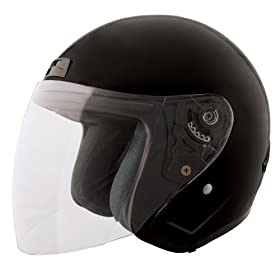 Fuel Gloss Black Small Vented Open Face Helmet with Shield