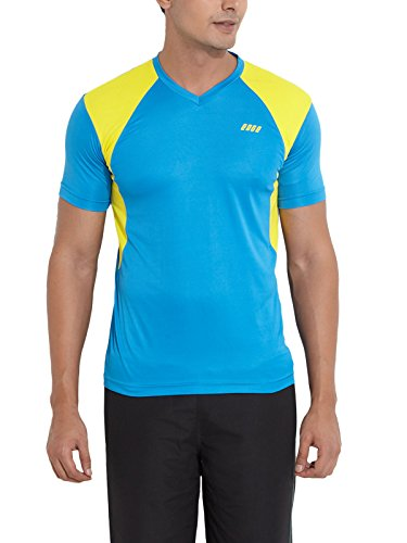 Edge Edge Men Polyester T-Shirt (Cyan)