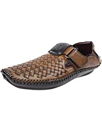 RISER Men's Brown Synthetic Leather Sandal