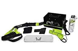Venom Military Suspension Pro Trainer System Pack w/ Door Mount - Adjustable Exercise Straps & Tactical Grips for Full-Body Workout - Basic Kit for Resistance Training w/ Glass Bottle & Gym Towel