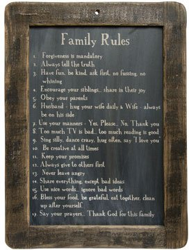Framed Family Rules Blackboard - Primitive Country Rustic Inspirational Wall Decor by CW