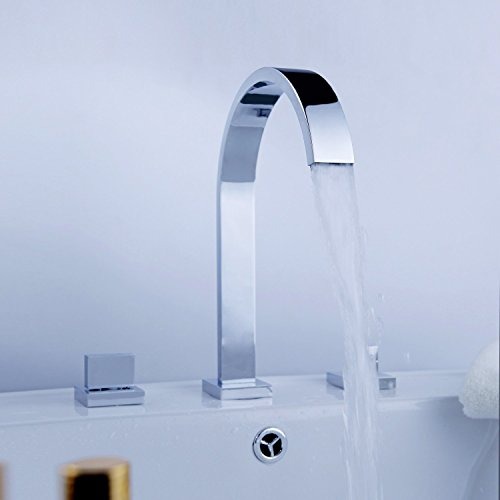 KES 3-Hole Two Handle Widespread Laundry Utility Bathtub Faucet Modern Square Hotel Style Polished Chrome, L4310 (Modern Faucet Bath compare prices)