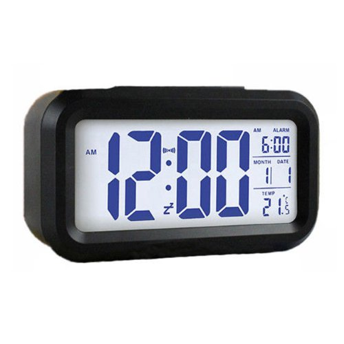 Nuoya001 Led Digital Alarm Clock Light Sense Control Backlight Time Calendar Thermometer Black Color
