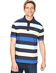 XXXL Blue Harbour Pure Cotton Block Striped Polo Shirt