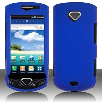 Blue Hard Plastic Rubberized Case Cover for Samsung i100 Gem