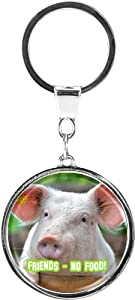 """metALUm Premium - Metal key ring """"Friends - no Food"""" an evocative motif with a pig - an ideal gift for vegetarians, vegans and animal lovers"""
