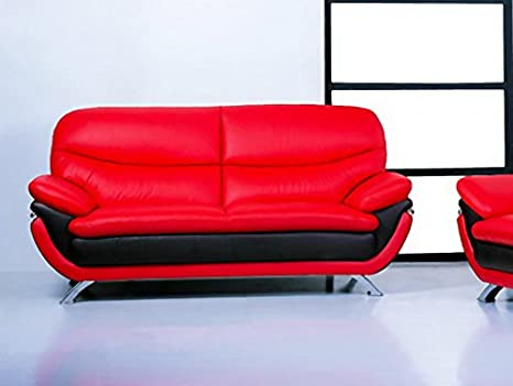 Jonus Sofa | Black and Red Italian Leather