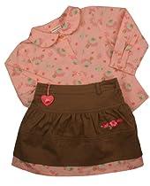 Laura Ashley Baby Girls Flowered Shirt Green Skirt Set-18 Months