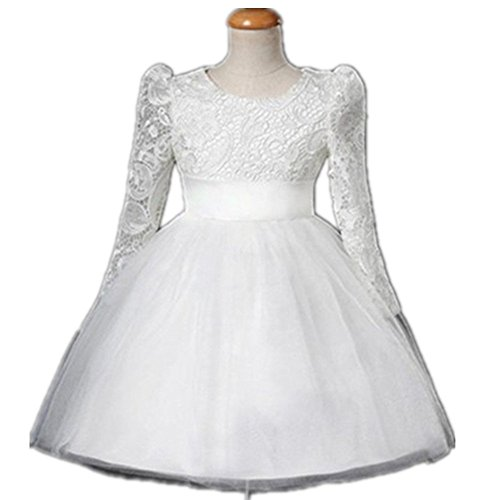 Ragazza Tulle Fiore Principessa Abito da sposa per bambini e Baby Girl Autunno 1307 bianco White 19-24 months