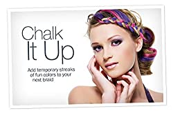 Set of 12 Instant & Temporary Hair Color Chalks for Non-Toxic Washable Wet/Dry Coloring - Hair Fashion Style Color Accessories