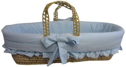 Baby Doll Satin Trim Moses Basket, Blue