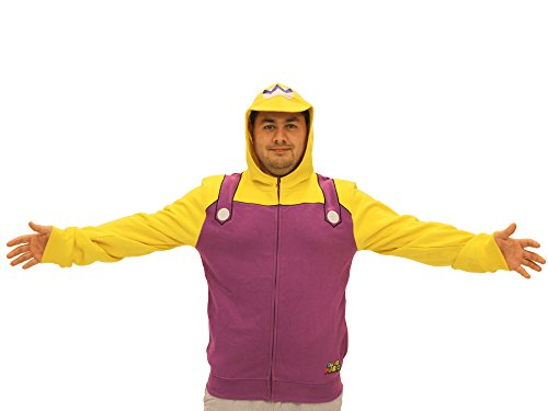 Nintendo Wario Adult Costume Zip Up Hoodie