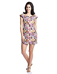Quirk Box Women's Cotton Tunic Dress (QBXFD1-XS_Multi-Coloured_X-Small)