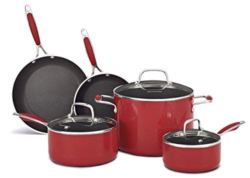 KitchenAid KCAS08ER Aluminum Nonstick 8-Piece Set Cookware - Empire Red