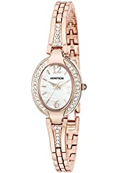 Armitron Women's 75/5333MPRG Swarovski Crystal Accented Oval Shaped Rose Gold-Tone Bangle Watch