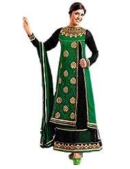 Lattice Women Heavy Embriodered Dark Green Color Dress Material