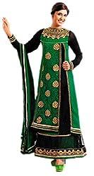 Lattice Women Georgette Dress Material (Lat9 _Dark Green)