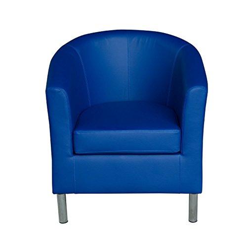 HomCom Modern PU Leather Tub / Barrel Club Arm Seat Chair - Blue