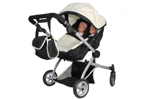 Babyboo Deluxe Twin Doll Pram/Stroller (Color Off White & Black) With Free Carriage (Multi Function View All Photos) - 9651A-2 front-61602