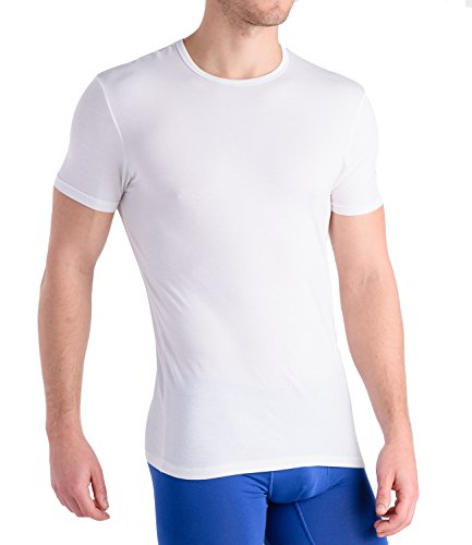 Comfortable Club Men's Modal Slimfit T-Shirt / Undershirt Crew Neck (Medium, Bright White)