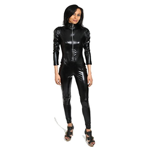 I-Glam Fetish Wear Celebrity Catsuit Wetlook Zippered Bodysuit
