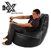 i-eX Gaming Chair -Faux Leather - Man Size Gaming Bean Bag - Great for a Gamer (Steel/Black) from i-eX