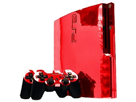 Sony PlayStation 3 Slim Skin (PS3 Slim) - NEW - RED CHROME MIRROR system skins faceplate decal mod