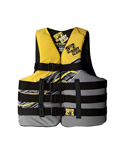 Body Glove Adult Method USCG Approved 4 Buckle Life Jacket Vest, Yellow, Large/X-Large