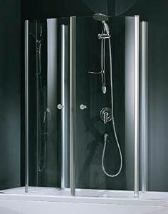 novellini aurora 4 duschkabine f r badewanne 70x150cm echtglas klar profile silber. Black Bedroom Furniture Sets. Home Design Ideas