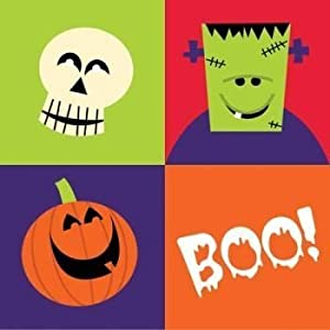 54 Halloween Napkins, Sppoky Friends, Skull & Monster Boo! (3 Packages of 18 Each) by Party Creation