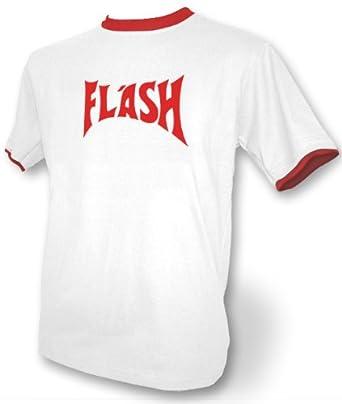 """Hochwertiges, weißes T-Shirt mit roten Kontraststreifen am Hals- und Ärmelbund für Männer mit """"Flash""""-Aufdruck von HotScamp (Small)"""