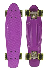 Ridge Skateboard 69 cm 27 Inch Nickel Cruiser Retro Stil M Rollen Komplett Fertig Montiert, Pb-27-Purple-Cleargreen