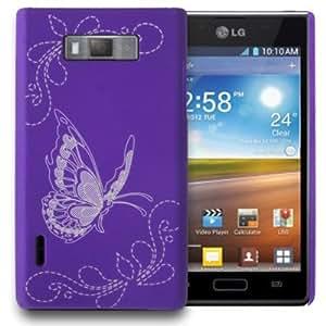 Butterfly Pattern Plastic Case for LG Optimus L7 / P705 (Purple)