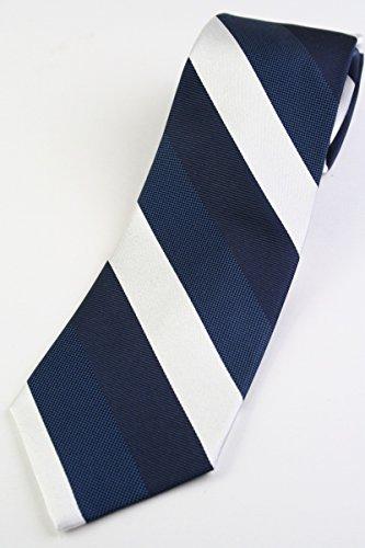 (フェアファクス) FAIRFAX 3色のブロックストライプのネクタイ ネイビー×濃いネイビー×ホワイト シルク100% レジメン st16426