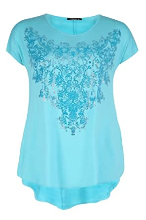 Yoursclothing Ladies Plus Size Aqua Caviar Bead Embellished T-shirt With Dipped by YoursClothing