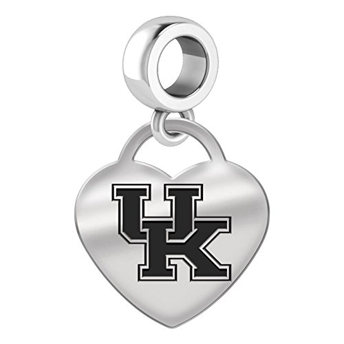 University of Kentucky Wildcats Heart Dangle Charm Fits All European Style Bead Charm Bracelets