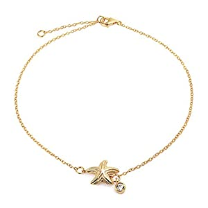 Bling Jewelry Gold Plated Nautical Starfish Anklet CZ Charm 925 Sterling Silver 9 Inch