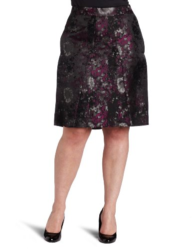 Ak Anne Klein Women's Plus Size Jacquard Skirt with Pleats