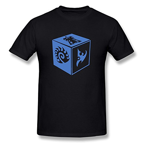 ZULA Men's Awesome T-shirt Starcraft 2 Game Protoss Terran Zerg Symbol Black Size L