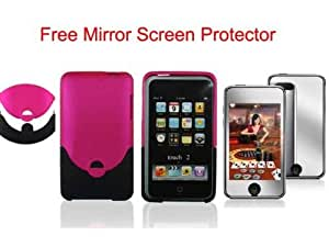 2Tone (Pink + Black) Rubberized HARD CASE FOR APPLE IPOD TOUCH ITOUCH 2nd 3rd GEN 2G/3G 8GB 16GB 32GB 64GB + Free Mirror Screen Protector