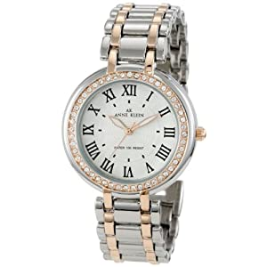 Anne Klein Women's 10/9939SVRT Swarovski Crystal Accented Easy-Read-Dial Two-Tone Bracelet Watch